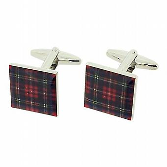 Jakob Strauss Gents Silvertone Scottish Stewart Red Tartan Square Cufflinks