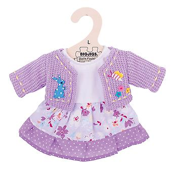 Bigjigs Toys lila Kleid & Cardigan (38cm) Kleidung Outfit Doll Dress Up