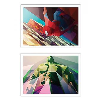 2 Art-Posters 30 x 40 cm - Spiderman and Hulk Polygonal - Liam Brazier
