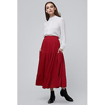 Louche Leonora Tiered Skirt Red