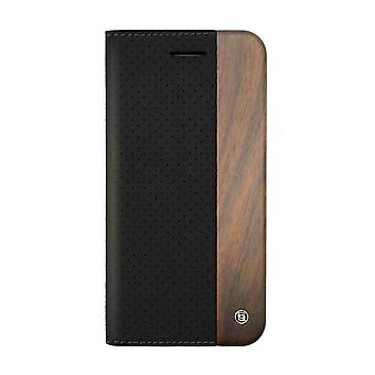 iPhone 6/6s Plus - 5.5 Inch Mode Wooden Perforated Black Folio Hard Shell