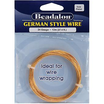 German Style Round Wire 24 Gauge 37.4 Feet Pkg Gold 180A 024