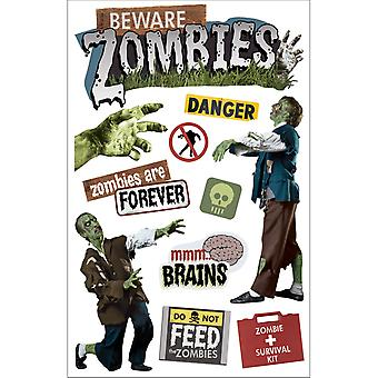Paper House 3 D Sticker Beware Zombies Stdm163e