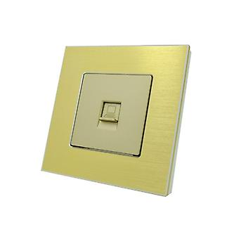 I LumoS Gold Brushed Aluminium RJ45 ADSL T568A/B Cat6 Internet Data Wall Single Socket