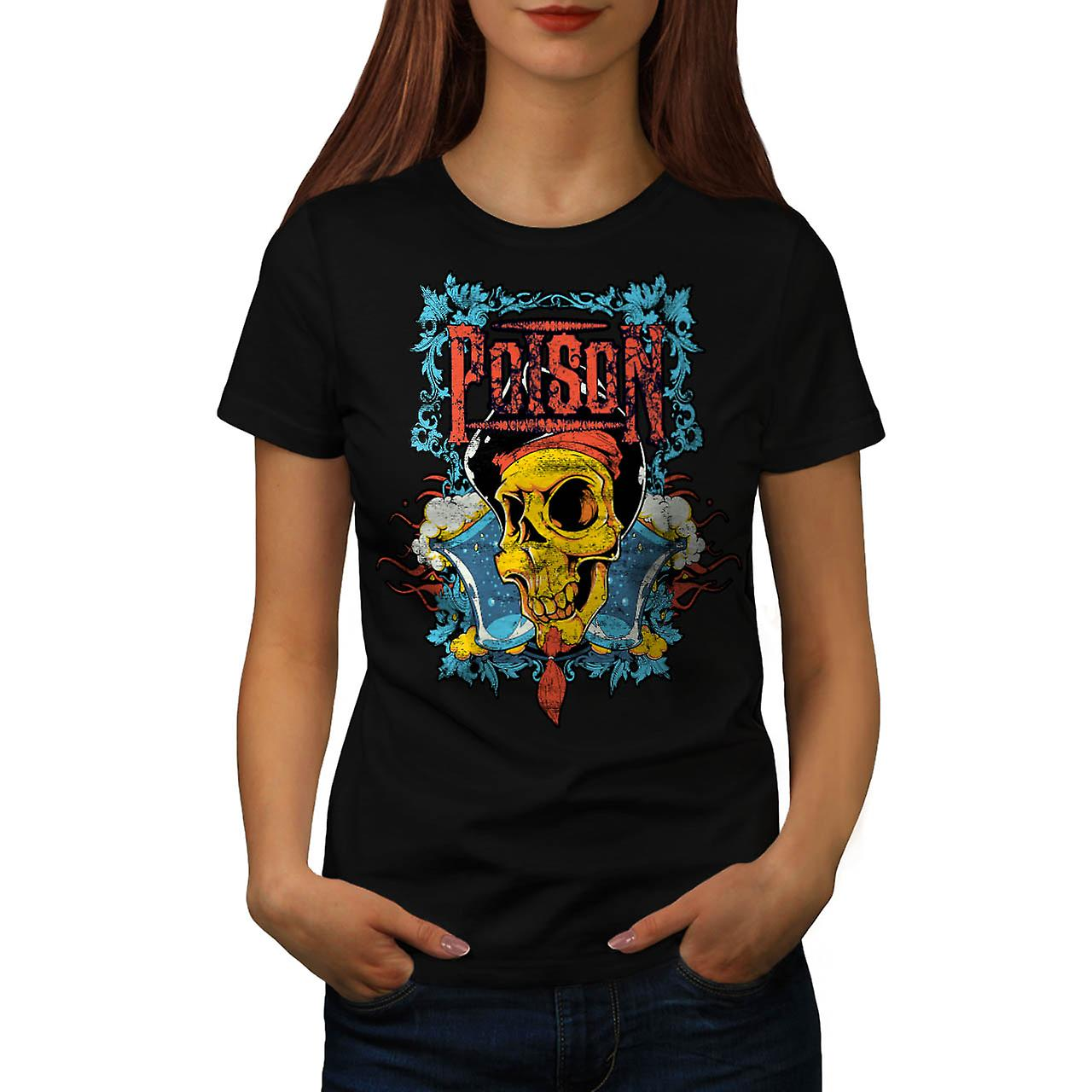 Poison Pirate Skull onda Monster kvinnor svart T-shirt | Wellcoda