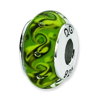 Sterling Silver Polished Antique finish Reflections Green Yellow Swirl Hand-blown Glass Bead Charm