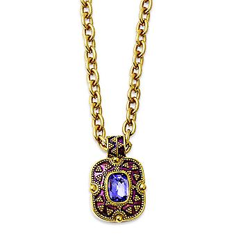Gold-tone Purple Crystal and Enamel 18inch Necklace