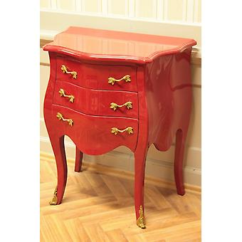 baroque chest of drawers  3 drawers red laquere golden handles