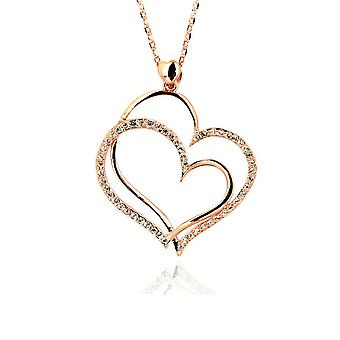18K Rose Gold Plated Sparkling Heart Pendant