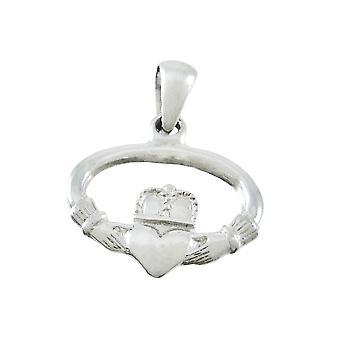 Silvertone Oval Claddagh Pendant