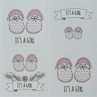It'S A Girl Sticker Sheet - 35 Stickers - Single Sheet New Baby Shower