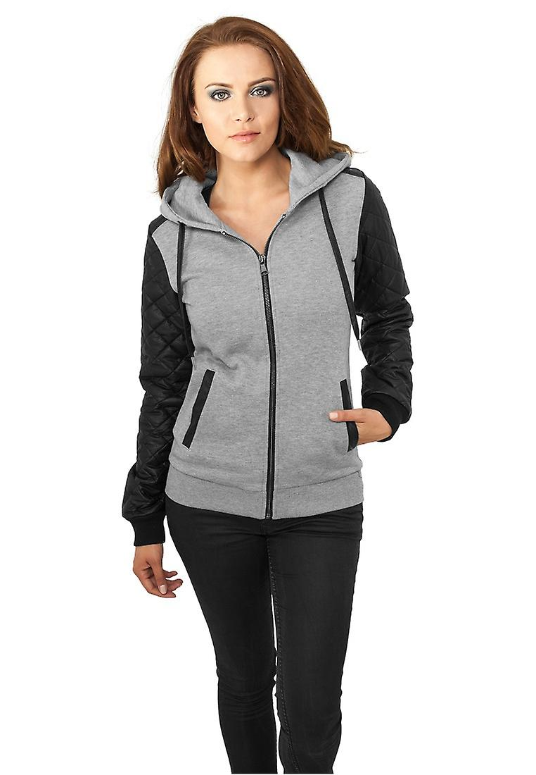 Urban classics ladies leather imitation Sleeve Zip Hoody