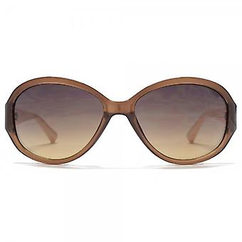 SUUNA Corrine Classic Oval Sunglasses In Brown Pink Temples