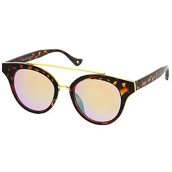 Double Nose Bridge Round Colored Mirror Lens Cat Eye Sunglasses 51mm