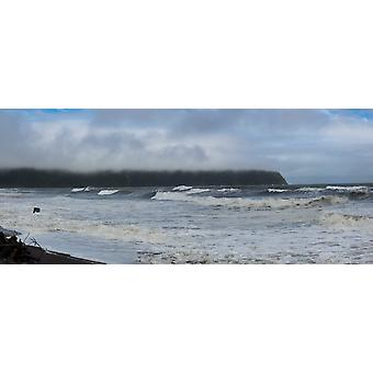Waves splashing on the beach Bruce Bay Westland District West Coast South Island New Zealand Poster Print by Panoramic Images