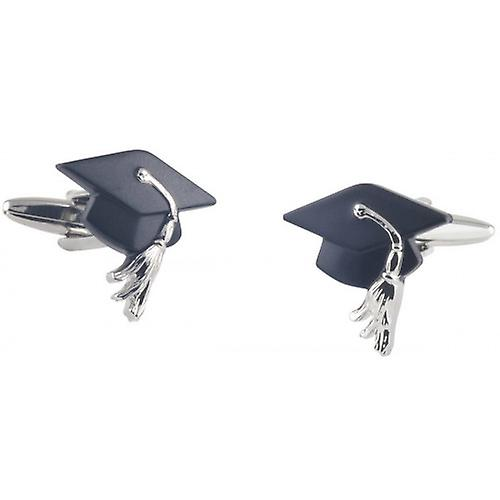 David Van Hagen Graduation Cap Cufflinks - Silver/Black
