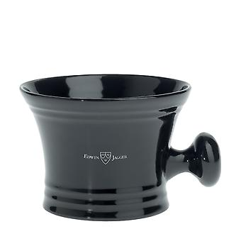 Edwin Jagger Ebony Porcelain Shaving Bowl with Handle RN46