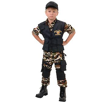 Seal Team Deluxe Military Army Soldier Police Uniform Book Week Boys Costume