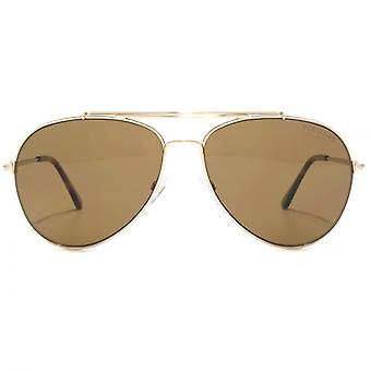 Tom Ford Indiana Pilot Sunglasses In Shiny Rose Gold Brown Polarised