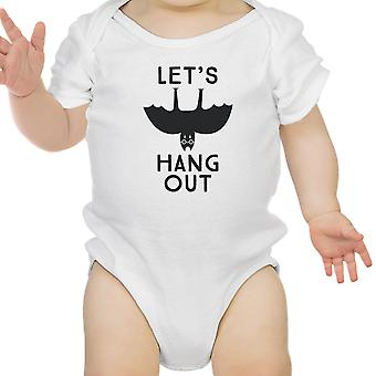 Let's Hang Out Bat White Cotton Baby Bodysuit First Halloween Outfit