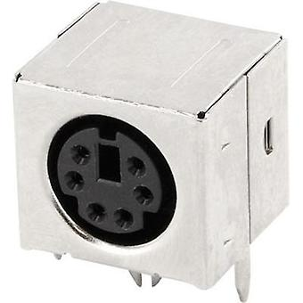 Mini DIN connector Socket, horizontal mount Number of pins: 6 Black econ connect MDIOB6G 1 pc(s)