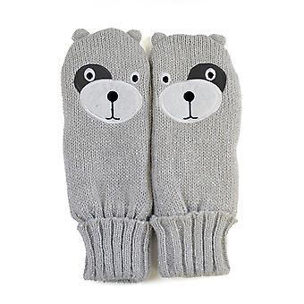Childrens/Kids Girls Teddy Bear Design Winter Mittens