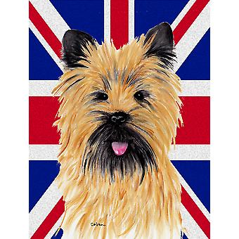 Cairn Terrier with English Union Jack British Flag Flag Canvas House Size