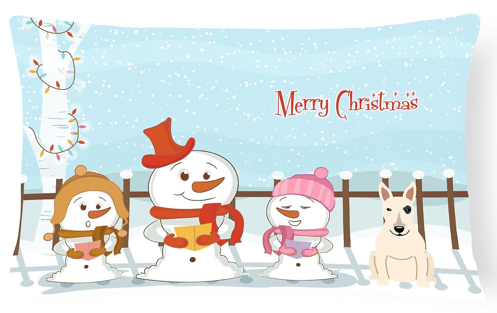 Blanc Oreiller Tissu Terrier Joyeux Noël Toile Décoratif Bull Chanteurs N8kXnP0wO