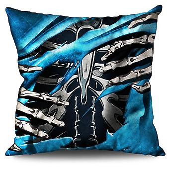 Death Skeleton Rock Skull Linen Cushion Death Skeleton Rock Skull | Wellcoda