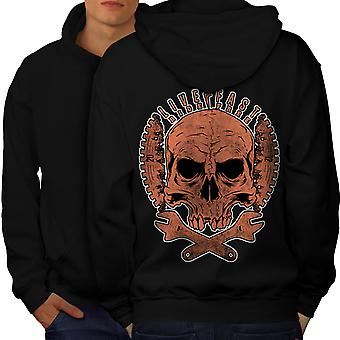 Living Life Biker Skull Men BlackHoodie Back | Wellcoda