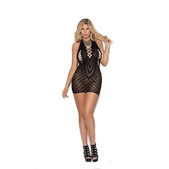 Elegant Moments  EM-1371Q Crochet halter neck mini dress