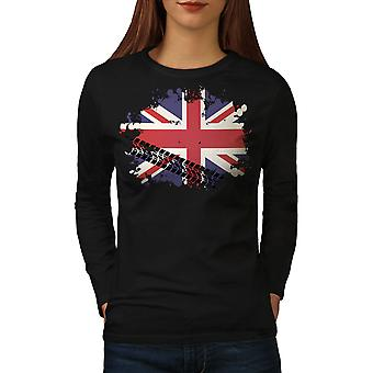 Union Jack Flag London UK Women BlackLong Sleeve T-shirt | Wellcoda