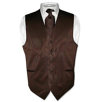 Men's Dress Vest & NeckTie Striped Design Neck Tie Set