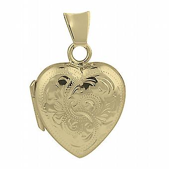 9ct Gold 17x16mm hand engraved heart shaped Locket