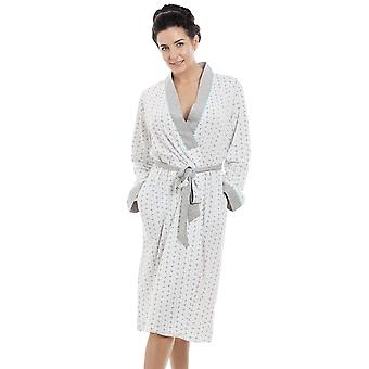Camille Blue & Grey Floral Pinstriped Lightweight Polycotton Dressing Gown