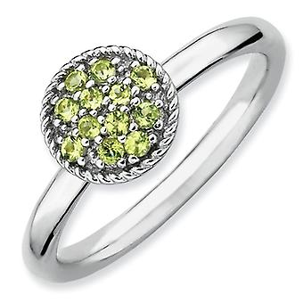 Sterling Silver Polished Prong set Rhodium-plated Stackable Expressions Peridot Rhodium Ring - Ring Size: 5 to 10