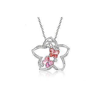 Pendentif-Broche Etoile en Cristal de Swarovski Element Rose