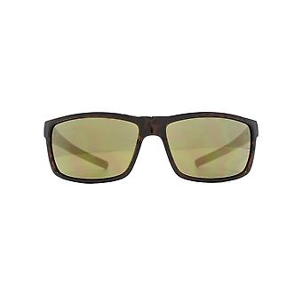 FCUK Rectangle Wrap Sunglasses In Dark Tortoiseshell On Khaki