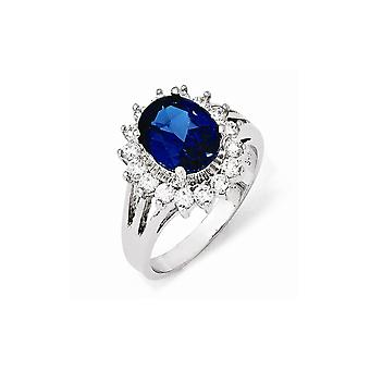 Sterling Silver Simulated Rhodium-plated Cubic Zirconia Synthetic Blue Spinel Ring - Ring Size: 6 to 8