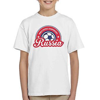 T-shirt Rússia Sunrise mundo Futebol Campeonato 2018 do miúdo