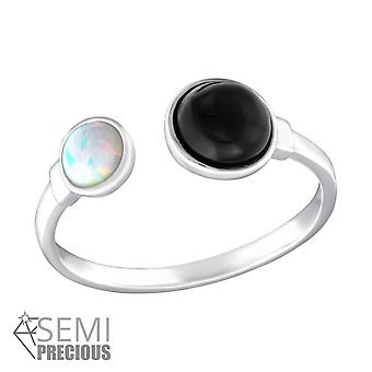 Double Round - 925 Sterling Silver Jewelled Rings