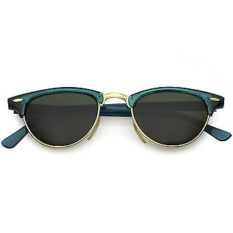 True Vintage Horn Rimmed Semi Rimless Sunglasses Green Tinted Oval Lens 49mm