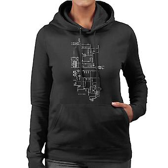 PlayStation 1 Computer Schematic Women's Hooded Sweatshirt