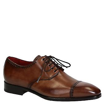 Handmade men's oxfords cap toe shoes in tan leather