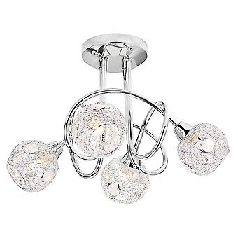 Modern and Trendy Chrome Ceiling Light with Mesh and Crystal Shades