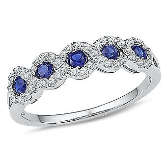 Ladies 1/2 Carat (ctw) Lab Created Blue Sapphire Ring in 10K White Gold with Accent Diamonds 1/4 Carat (ctw)