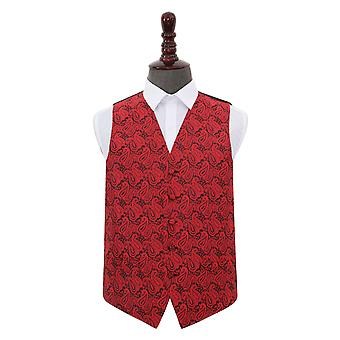 Black & Red Paisley Wedding Waistcoat