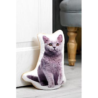 Adorable british blue cat shaped doorstop