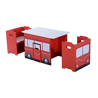 Homcom Wooden Bus-like 3PC Kids Table and Chairs Set Mutifunctional Children Book Case Toy Storage Shelves Red