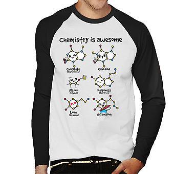 La química es béisbol impresionante células hombres manga larga camiseta
